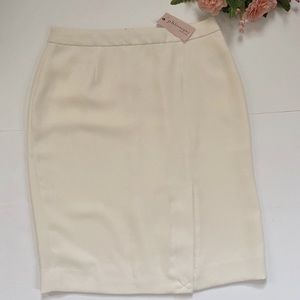 Philosophy Ivory Front Slit Casual Pencil Skirt